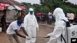 Photo d'archives: Des agents de santé communautaire se lavent les mains après avoir pris un échantillon de sang d'un enfant pour des tests du virus Ebola dans une zone où un jeune de 17 ans est mort du virus à la périphérie de Monrovia, au Libéria. (30 juin 2015)