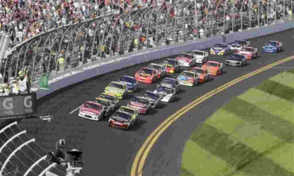 Los conductores Jeff Gordon y Taylor Bayne liderando la competencia clasificatoria el jueves, 17 de febrero de 2011.