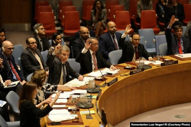 Sidang DK PBB di New York, Selasa, 26 Maret 2019, mendengar paparan Koordinator Khusus PBB Untuk Perdamaian di Timur Tengah, Nicolay Mladenov, mengenai implementasi Resolusi Dewan Keamanan PBB 2334 Tahun 2016. (Foto: Kementerian Luar Negeri RI)