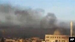 시리아 알레포 주 습격당한 기숙사 주변 (시민제보 동영상)