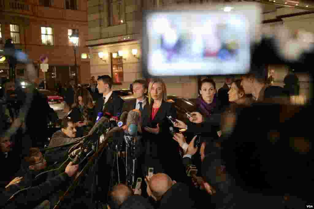 فدریکا موگرینی، مسئول سیاست خارجه اتحادیه اروپا در نشست صلح سوریه.