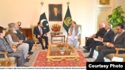 Delegation of Afghanistan's High Peace Council headed by Chairman Salahuddin Rabbani called on Prime Minister Muhammad Nawaz Sharif at PM House, Islamabad on Nov. 21, 2013. (Photo: Afghanistan Government Press Information Department)