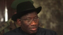 FILE - In this Feb. 27, 2012 photo, Nigerian President Goodluck Jonathan, visits Nigeria's Koluama village.