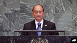 지난 9월 유엔 총회 연설 중인 테인 세인 버마 대통령(자료사진)