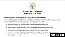 Rwanda Corona Virusi