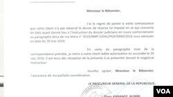 Lettre du procureur général de la République, Flory Kange