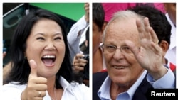 FILE - A combination file photo shows Peru's presidential candidates Keiko Fujimori (L) after voting and Pedro Pablo Kuczynski (R) arriving to vote, during the presidential election in Lima, Peru, in these April 10, 2016, file photos.