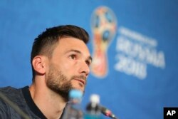 France goalkeeper Hugo Lloris answers a question during France's official press conference on the eve of the group C match between France and Australia at the 2018 World Cup in the Kazan Arena in Kazan, Russia, June 15, 2018.