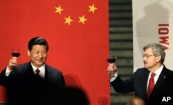 지난 2012년 테리 브랜스테드(오른쪽) 아이오와 주지사가 시진핑 당시 중국 부주석 환영만찬에서 건배하고 있다.