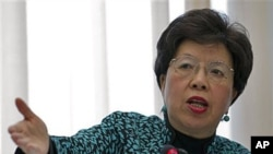 Margaret Chan, Director General of the World Health Organization [WHO], delivers her statement during the launch of the global plan to prevent resistance to potent malaria treatment at the WHO headquarters, Geneva, Switzerland, January 12, 2011 (file phot