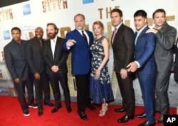 "From left, Denzel Washington, Antoine Fuqua, Peter Sarsgaard, Vincent D'Onofrio, Haley Bennett, Chris Pratt, Martin Sensmeier, Ethan Hawke attends a special screening of ""The Magnificent Seven"" at The Museum of Modern Art, Sept. 19, 2016, in New York."