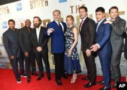 "From left, Denzel Washington, Antoine Fuqua, Peter Sarsgaard, Vincent D'Onofrio, Haley Bennett, Chris Pratt, Martin Sensmeier, Ethan Hawke attends a special screening of ""The Magnificent Seven"" at The Museum of Modern Art, Sept. 19, 2016, in New York."