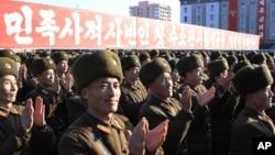지난 1월 평양 김일성 광장에서 북한의 수소탄 핵실험을 축하하는 대규모 군중집회가 열렸다. (자료사진)