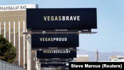 Papan iklan di Las Vegas Boulevard South, 9 Oktober 2017. (Foto: Reuters/Steve Marcus)