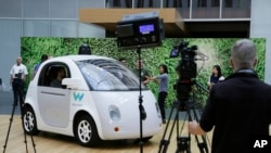 FILE - A Waymo driverless car is displayed during a Google event, Dec. 13, 2016, in San Francisco.