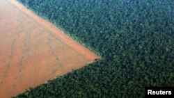 FILE - The Amazon rainforest (R), bordered by deforested land prepared for the planting of soybeans, is pictured in this aerial photo taken over Mato Grosso state in western Brazil, Oct. 4, 2015.