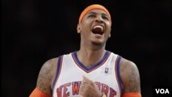 Pemain New York Knicks, Carmelo Anthony, menentukan kemenangan tim tersebut atas Denver Nuggets. (Foto: Dok)