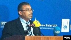 Pimpinan Islamic Relief US Dr. Abed Ayoub memberikan sambutan dalam acara menyambut Ramadan di Kongres AS.
