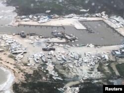 An aerial photo shows the aftermath of the Hurricane Dorian damage over an unspecified location in the Bahamas,