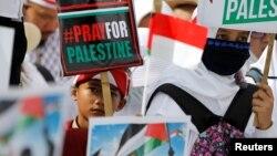 Biểu tình bên ngoài đại sứ quán Mỹ ở Jakarta, Indonesia, hôm 10/12.