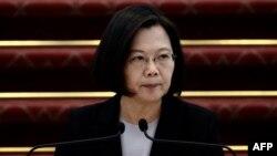 台灣總統蔡英文在台北總統府舉行的記者會上講話。(2020年1月22日)