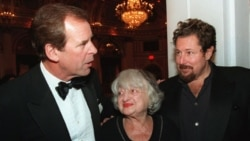 Peter Jennings, left, Betty Friedan and Julian Schnabel after receiving Lifetime Achievement Awards from the Academy of the Arts in New York in 1998