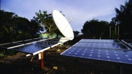 An array of solar panels installed by the SELF NGO, which advocates for increased investments worldwide in clean power. (SELF)