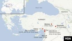 NATO menetapkan tiga pangkalan untuk menempatkan rudal patriot di Turki, yang telah disurvey oleh tim pendahuluan awal Desember lalu (Gambar peta lokasi rudal patriot NATO)