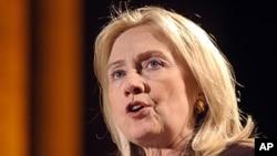美国国务卿希拉里·克林顿11月7号在华盛顿发表讲话