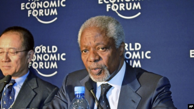 Kofi Annan, Chairman of Alliance for a Green Revolution in Africa address a news conference during the World Economic Forum on Africa in Addis Ababa, Ethiopia, May 10, 2012.