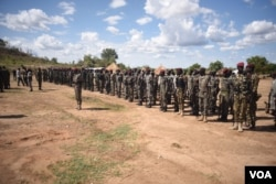 South Sudanese government soldiers stand at attention at Jebel Makor, April 14, 2016. (Credit: Jason Patinkin)