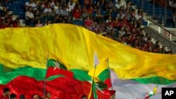 myanmar flag during a football match