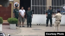 FILE: Government critic Kung Raiya arrives at Phnom Penh Municipal Court in Phnom Penh, Cambodia, July 10, 2019. (Photo from LICADHO)