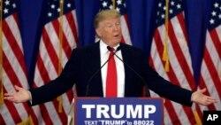 Ứng cử viên tổng thống của Đảng Cộng hòa Donald Trump phát biểu trong buổi họp báo tại Jupiter, Florida, ngày 8/3/2016.