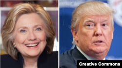 Democrat Hillary Clinton, left, and Republican Donald Trump, right