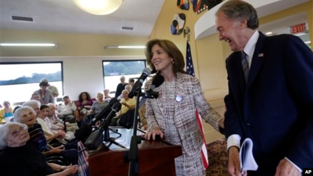 Rep. Ed Markey (R), the Democratic candidate for U.S. Senate in the Massachusetts open seat special election, laughs as Caroline Kennedy introduces him to seniors during a campaign event in Massachusetts, June 3, 2013.