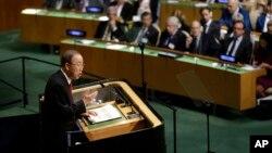 Le secrétaire général de l'ONU à la tribune de l'Assemblée générale des Nations Unies