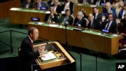 반기문 유엔 사무총장이 지난해 9월 제70회 유엔총회에서 연설하고 있다. (자료사진)