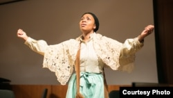 Soprano Sumayya Ali as Harriet Tubman in an early American Opera Projects workshop. (Photo by Danielle Rivera for AOP)
