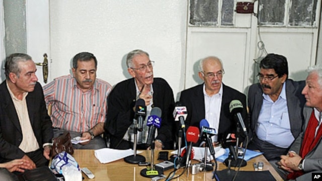 National Democratic Change activists at their meeting in Damascus, September 18, 2011.