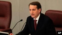 Sergei Naryshkin, ketua majelis rendah parlemen Rusia (foto: dok). Rusia menuduh pesawat Perancis melakukan manuver berbahaya di dekat pesawat Rusia yang sedang membawa Sergei Naryshkin dan delegasinya.