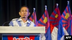 "Karen National Union (KNU) leader Padoh Mahn Nyein Maung delivers an address during a ""pre-conference"" ahead of the Karen Unity and Peace Committee (KUPC) conference in Yangon on July 2, 2015."