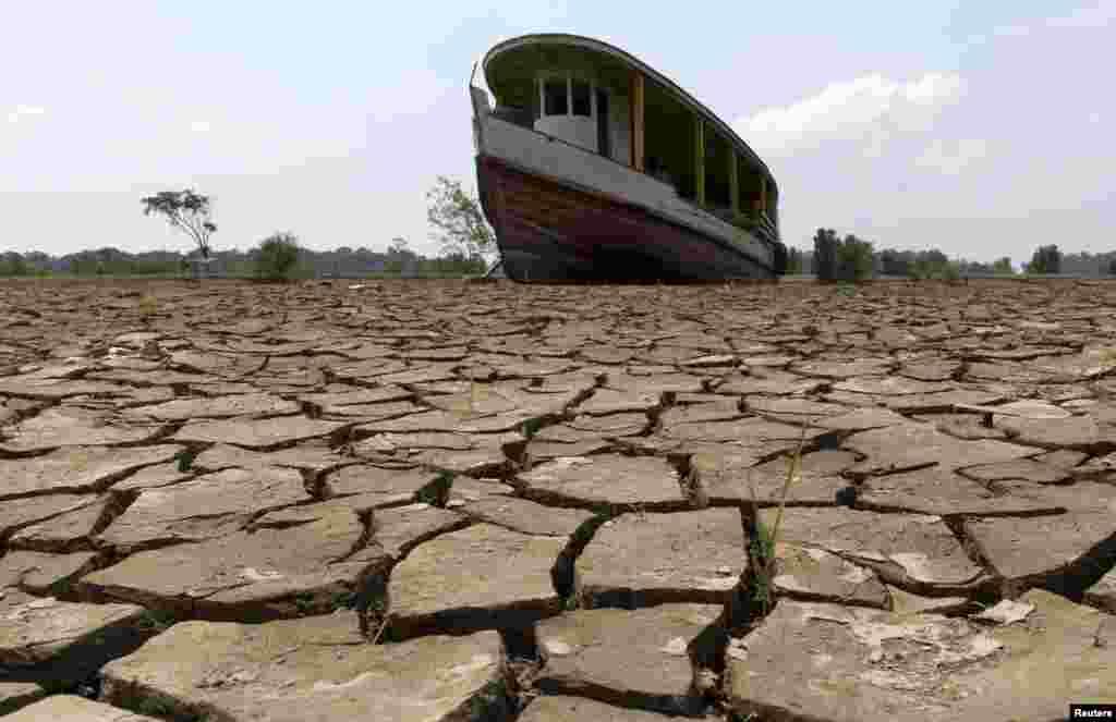 Perahu terdampar di dasar Sungai Amazon di kota Manaus, Brazil, tanggal 26 Oktober 2015. Kekeringan parah telah menyurutkan beberapa sungai di kawasan Amazon sehingga masyarakat terpencil harus bergantung pada bantuan darurat, sementara banyak perahu terdampar di sungai-sungai yang kering.