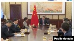 中國國家主席習近平周二在北京接見香港候任特首林鄭月娥。(2017年4月11日 香港電台網站截圖)