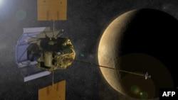 Mô hình phi thuyền Messenger trong quỹ đạo