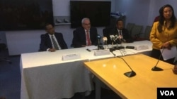 IFC CEO Philippe Le Houerou, Ahimed Shedie and Yinnager Desie at the Presser.