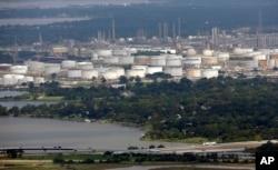 Vista aérea de planta petroquímica en Houston. Septiembre 1, 2017. AP