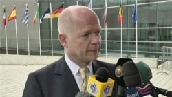 British Foreign Secretary William Hague addresses EU's suspension of Burma sanctions