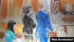 ภาพสเก็ต น.ส.แพรพิชชา สมาตสรบุศย์ ขณะขึ้นรับฟังการไต่สวนของศาลรัฐบาลกลางสหรัฐฯ