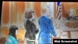 ภาพสเก็ตช์ น.ส.แพรพิชชา สมาตสรบุศย์ ขณะขึ้นรับฟังการไต่สวนของศาลรัฐบาลกลางสหรัฐฯ